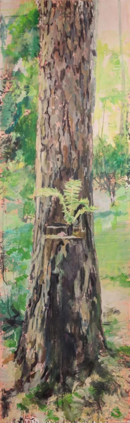 huge tree painting, fern growing out of a tree, impressionism artwork