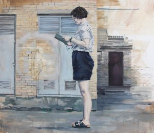 woman standing in front of brick wall reading a book figurative painting, urban landscape