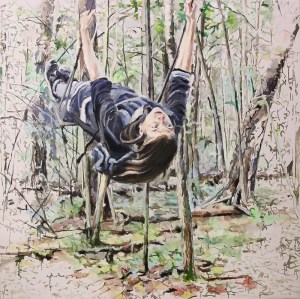 girl on swings in forest, painted in impressionist style