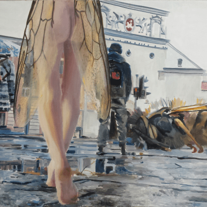 naked woman with insect wings in urban area, big insect on the ground, surreal painting