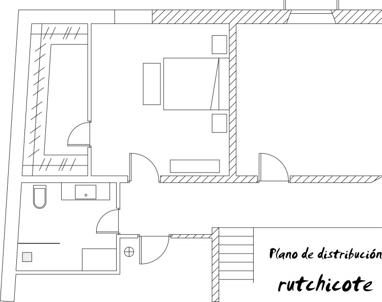 PLano de distribución de baño y dormitorio