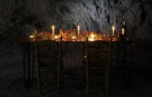 Centro de mesa otoñal con antiguos moldes de magdalenas Rutchicote