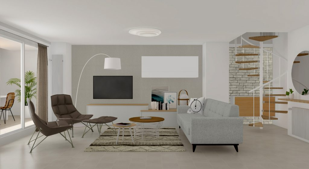 Un salón con escalera de caracol en rutchicote.com