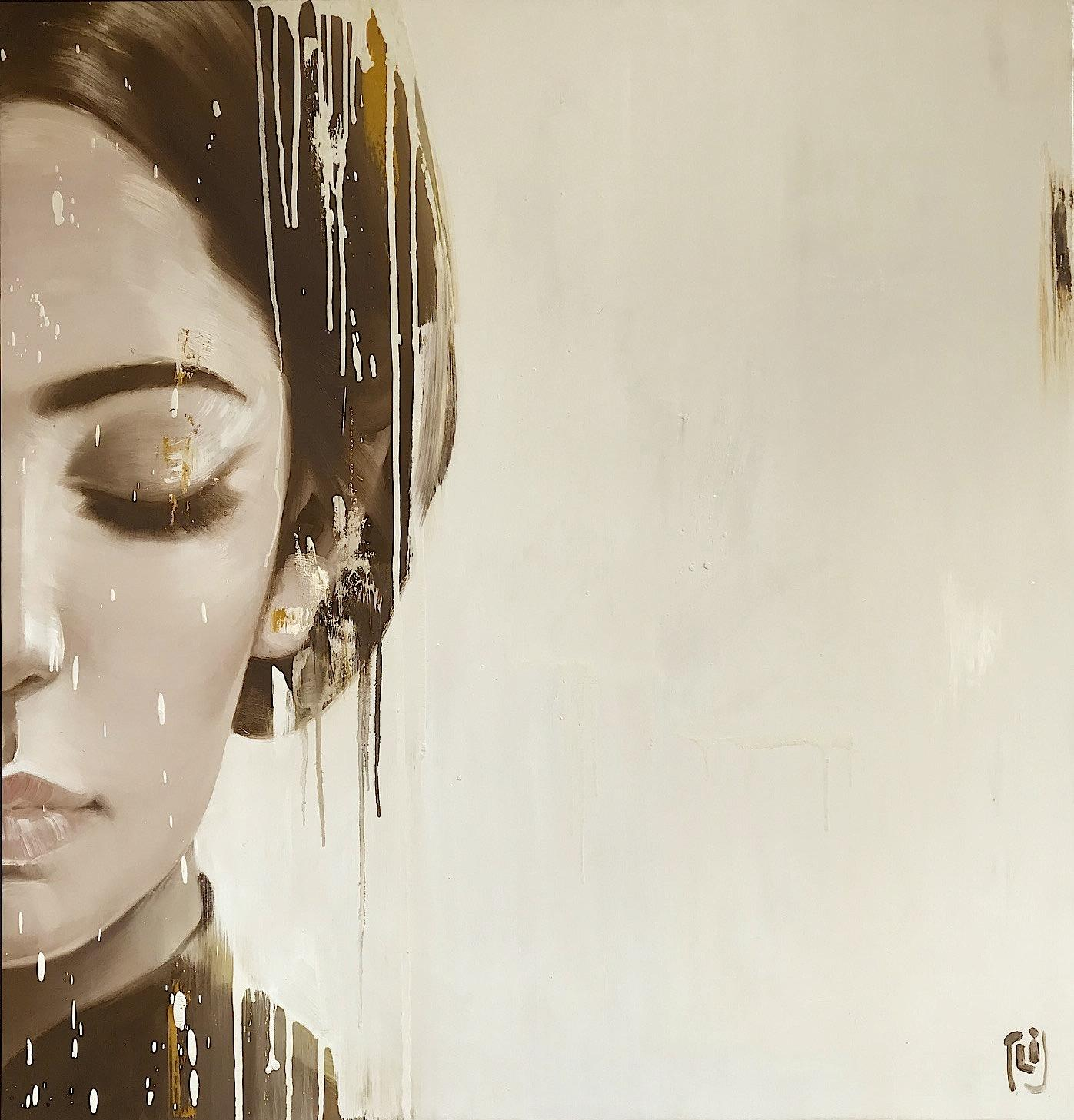 A Glance I - 105x110 cm - Oil on canvas - Phuong Quoc Tri - Luxembourg Art