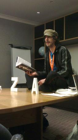 Hal Duncan performing 'Scruffian Stamp' at the Planet Scotland readings.
