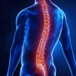 Man with glowing backbone