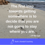The first step towards getting somewhere is to decide that you are not going to stay where you are - J P Morgan