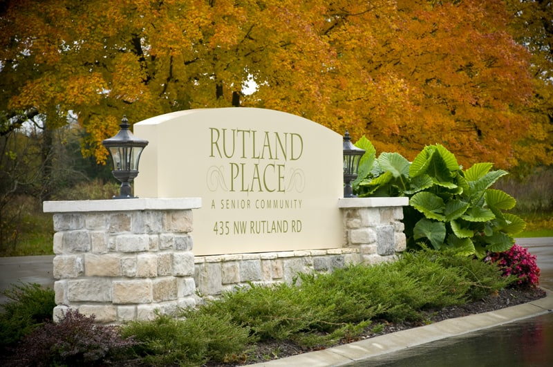 Marquee sign of Rutland Place Senior Community near Nashville, TN