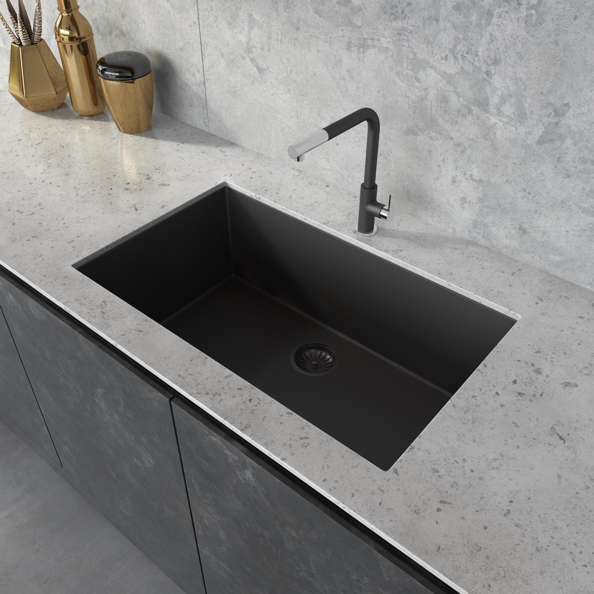 https www ruvati com products rvg2080bk 33 x 19 inch granite composite undermount kitchen sink midnight