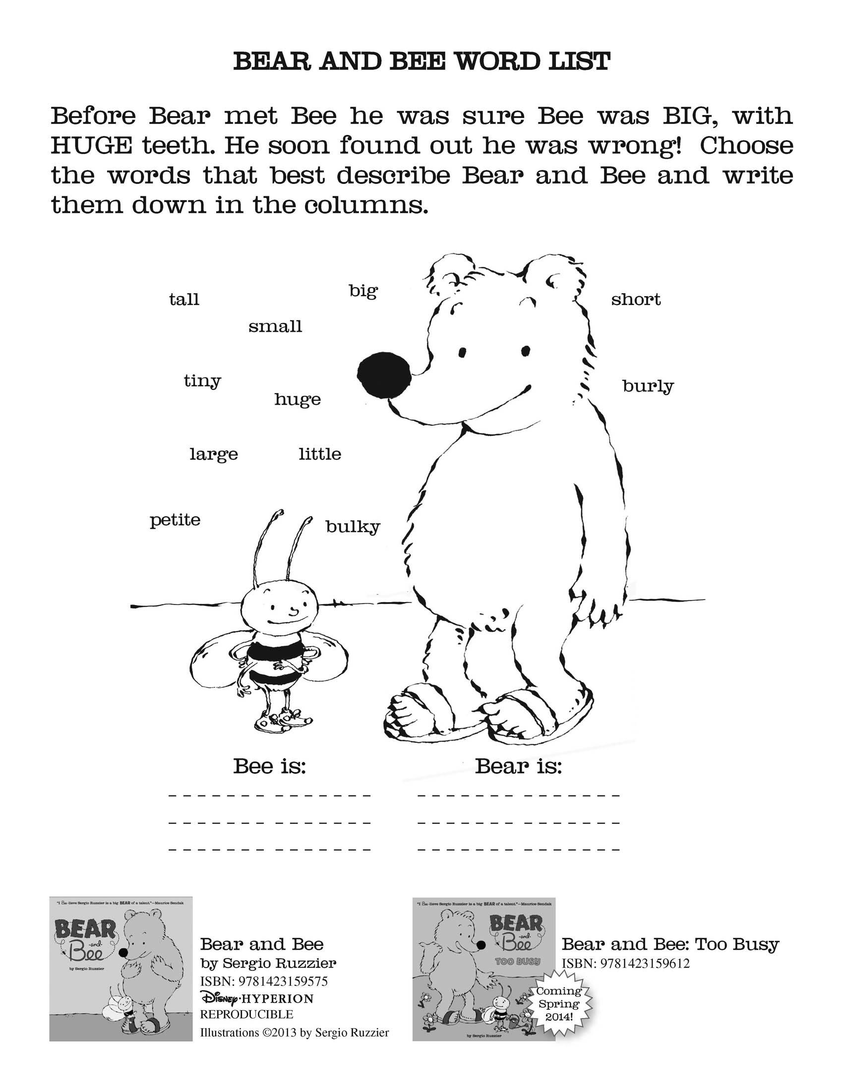 Bear And Bee Activity Sheets