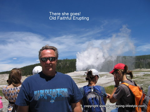 yellowstone,rv camping, old faithful