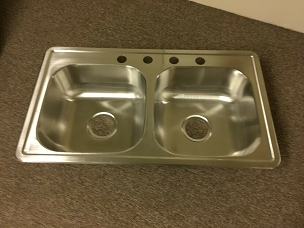 25 x 17 double bowl stainless steel sink