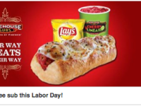 FREE sub at Firehouse Subs on Labor Day