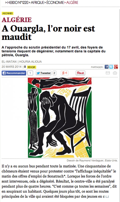 linocut, published by Courrier International March 20, 2014