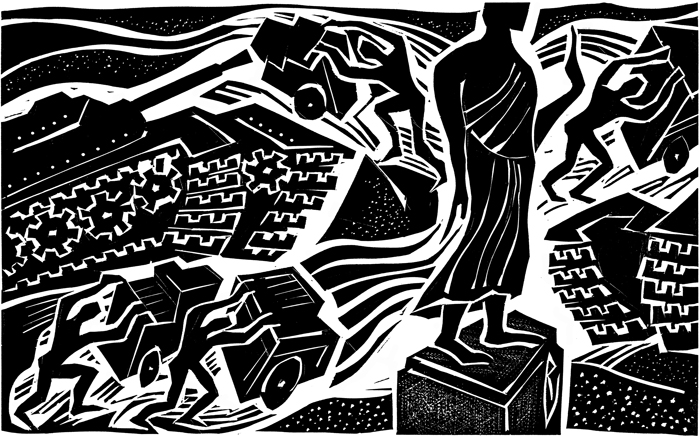 Thai coup, linoleum cut, 2006