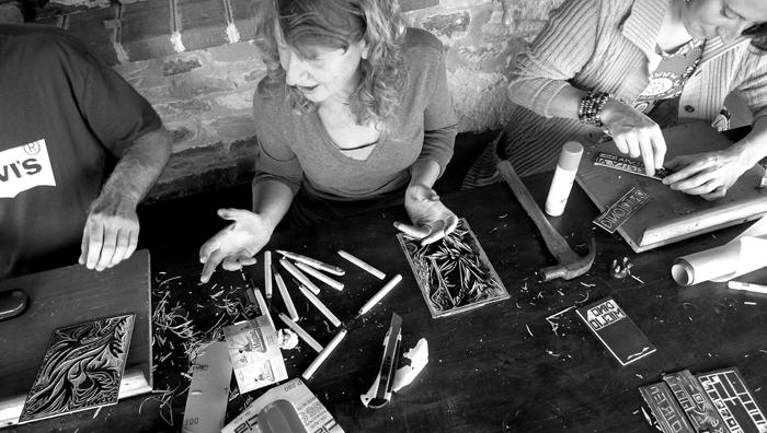 linoleum cut, workshop # 10
