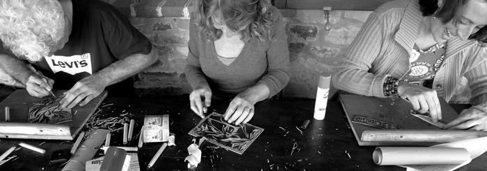 linoleum cut, workshop # 11