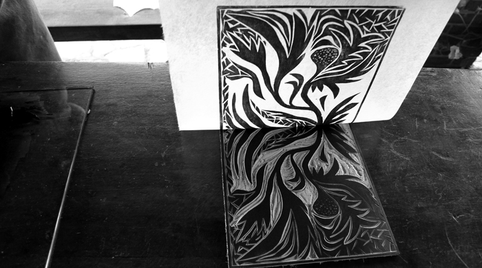 linoleum cut, workshop # 16