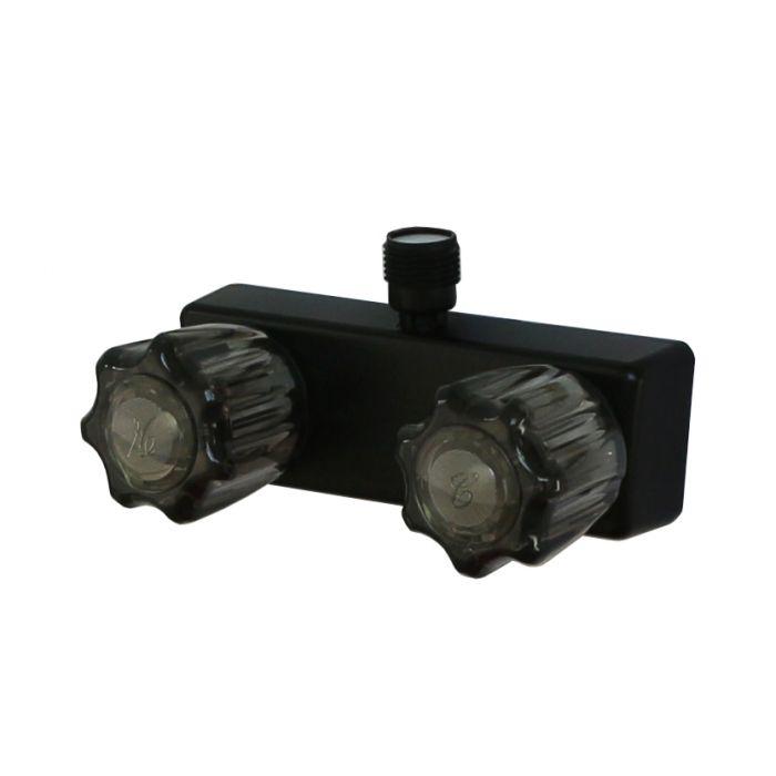 4 empire rv matte black shower valve with vacuum breaker acrylic handles