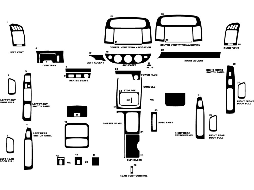 2002 Toyota Camry Interior Parts Diagram