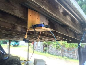 A Linksys router under an outdoor porch - this campground's idea of park wide 'WiFi'.