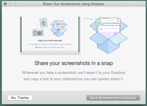 And when I took a screenshot of the photo popup, Dropbox popped up another window asking for permission to sync every screenshot I take. Persistent buggers!