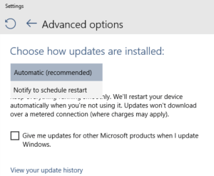 Prior versions of Windows would let you opt out of update notifications entirely, or defer updates until later. Windows 10 takes away those choices. Your only choice now is to delay any needed automatic reboot until you are ready for it.