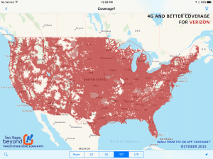 From the October 2015 release of our iOS app 'Coverage? - showing 4G coverage for Verizon.