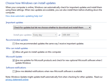"""In the Windows control panel, make sure that """"Recommended Updates"""" is no longer checked, and you may also want to opt-out of automatically installing important updates too."""