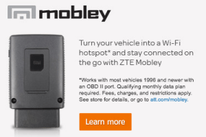 The ZTE Mobley can plug into the ODB-II port found on most vehicles manufactured since 1996, connecting them to AT&T's network and allowing up to 5 other devices to connect to the in-vehicle hotspot.