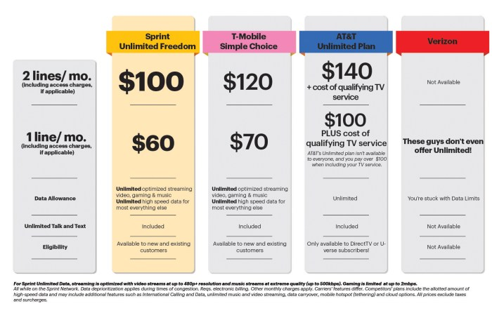Sprint published this comparison chart today, showcasing the difference between Sprint and the other carriers.