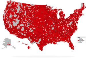 Verizon has deployed LTE Advanced to 451 cities so far - and has coverage in a lot more rural areas than T-Mobile.