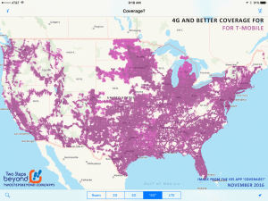 From the November 2016 release of our iOS app 'Coverage? - showing 4G coverage for T-Mobile.