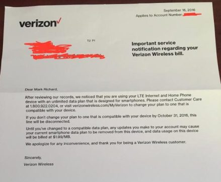 Verizon customers using a smartphone unlimited data line in a T1114 home router began receiving this letter today. (As posted on Howard Forums)