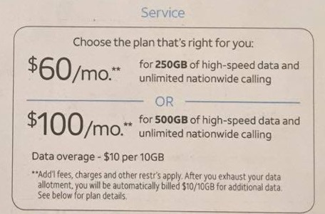 at&t's wireless home phone & internet rural plan – 250gb for $60