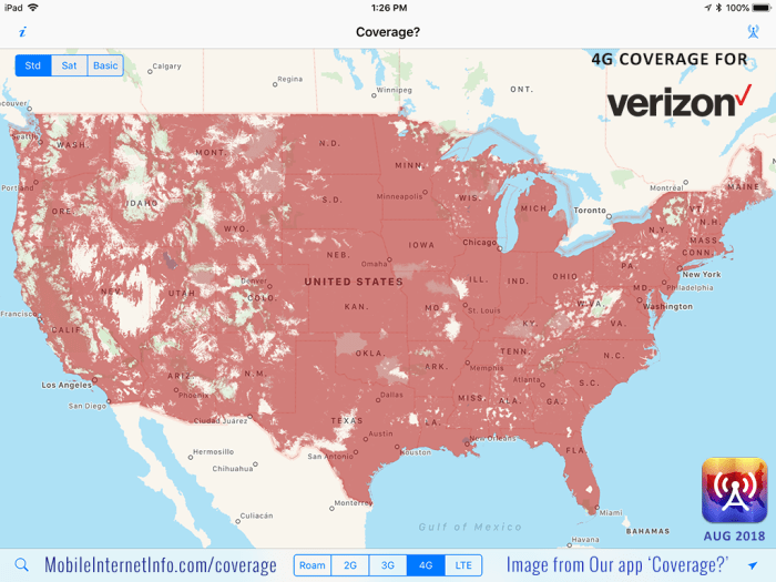 The Four Major US Carriers Verizon ATT TMobile And Sprint - Lte coverage map comparison
