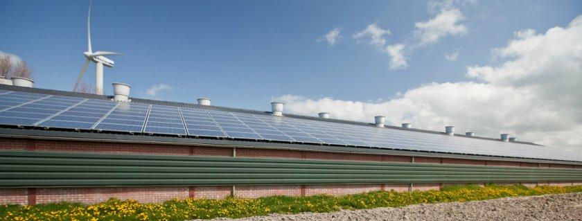 Windmolens en zonnepanelen bij bedrijf in Witmarsum