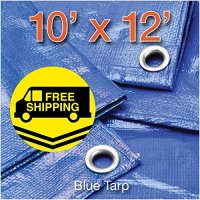 Comfitwear MT-1012-S Poly Tarp Cover, Water Proof Tent Shelter Camping Rv Boat Tarpaulin, Blue