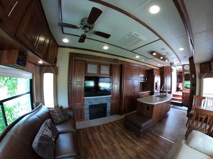Rental Trailer inside look living room
