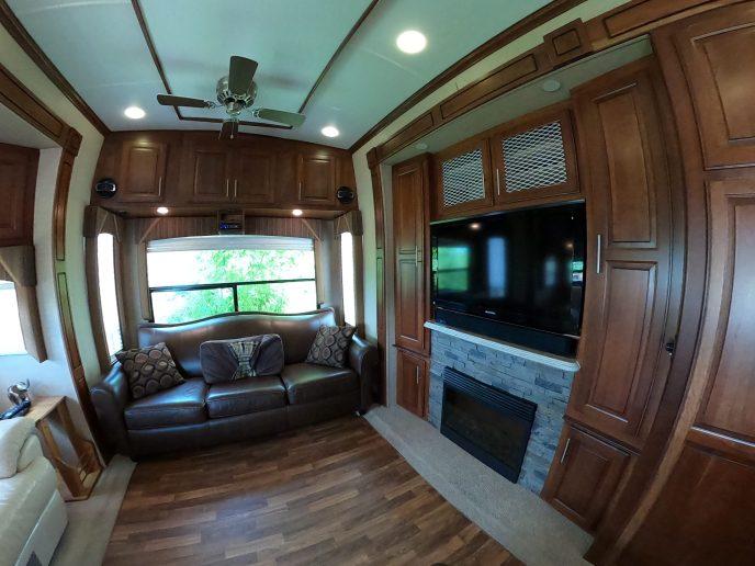 Rendez-Vous rental trailer-inside-living-room