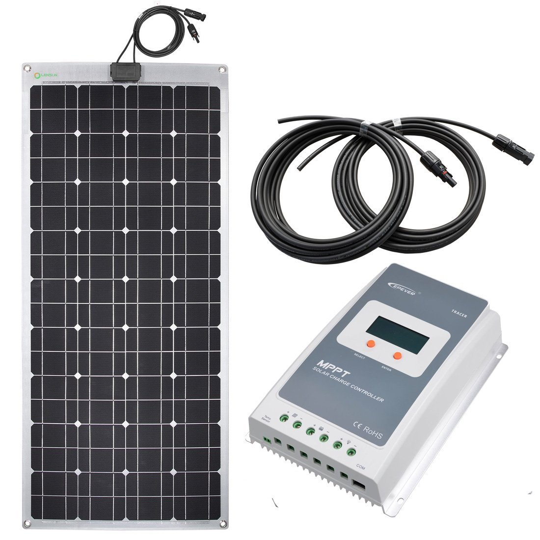 Lensun 200w 12v Flexible Rv Solar Panel Kit With 20 Amp