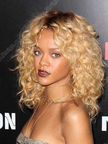 Custom Rihanna Hairstyle T Color Blonde Curly Lace Wigs