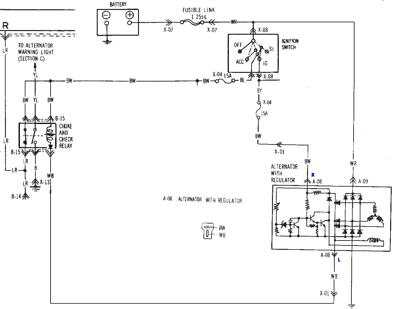 1987 mazda b2000 alternator wiring diagrams