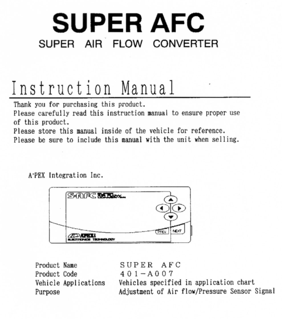 Apexi Safc Wiring Manual Wiring For Air Flow Converter Apexi Vtec – Apexi Neo Wiring Diagram