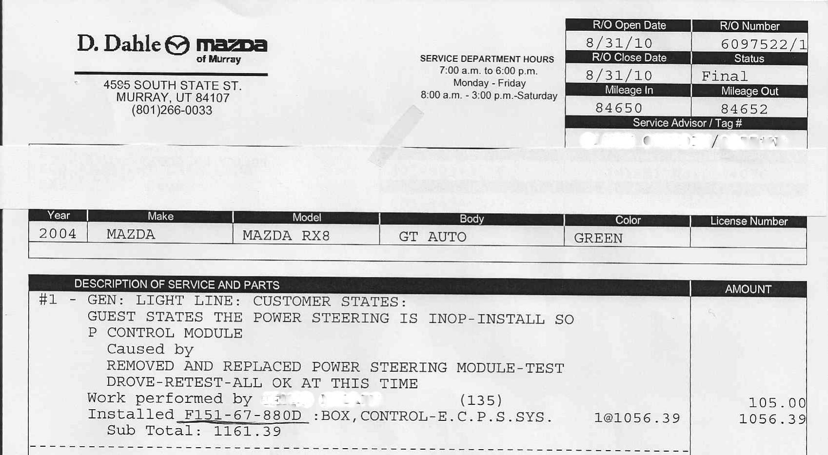 Mazda Rx8 Electric Power Steering