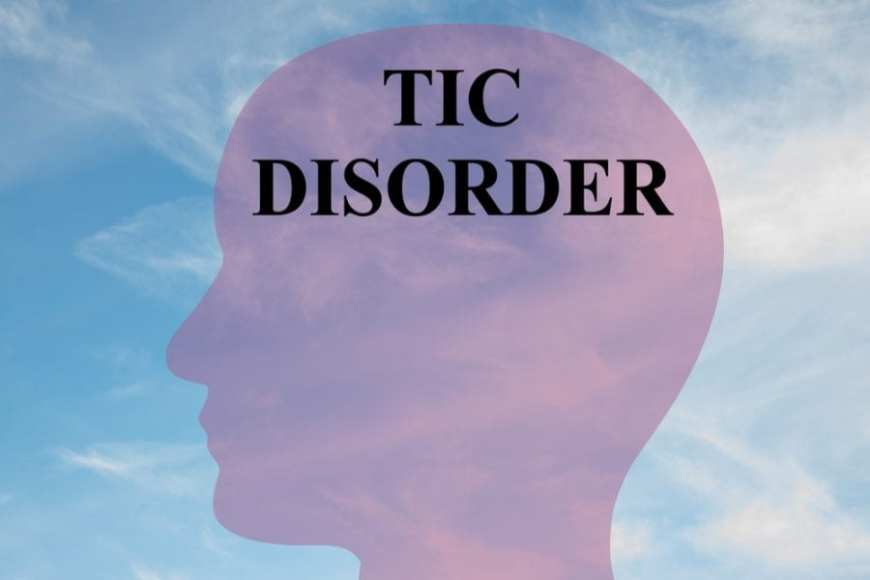 Head sillouette with Tic Disorder on top