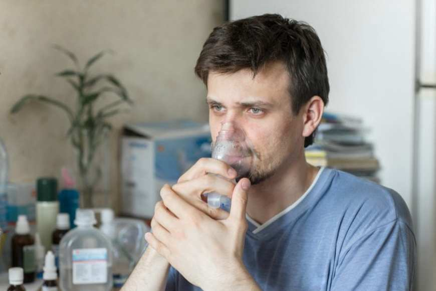 Cystic fibrosis young man on oxygen