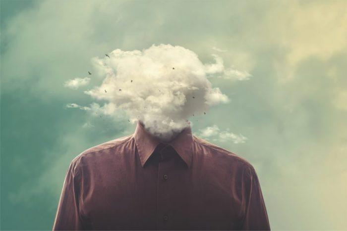 cloud or smoke headed dreaming man