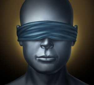 Blindfolded human head
