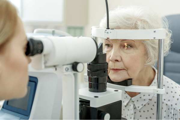 Elder woman having eye examination